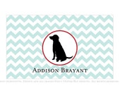 Black lab personalized stationery - Chevron pattern, six color options