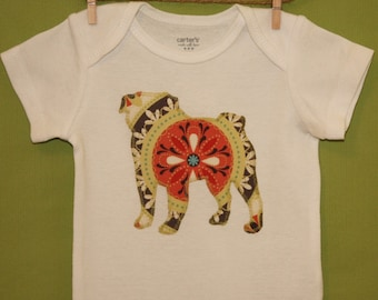 Pug baby one-piece bodysuit or toddler t-shirt in flourish medallion print