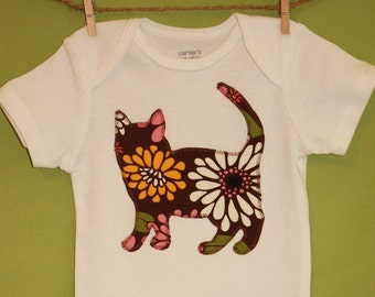 Kitty cat one-piece bodysuit or toddler t-shirt - You pick the fabric