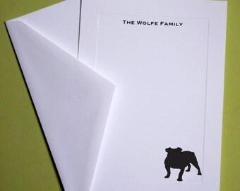English Bulldog Personalized Stationery - Set of 10 flat paneled cards