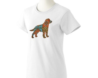 Lab dog appliqued ladies tshirt