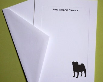 Pug Personalized Stationery - Set of 10 flat paneled cards