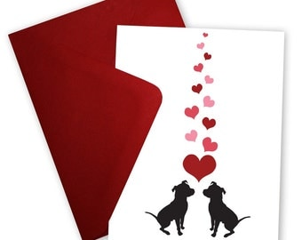 Pit Bulls in Love - Set of 6 Valentine cards personalized with your message