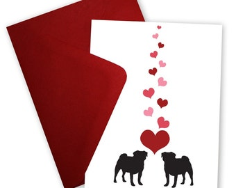 Pugs in Love - Valentine card personalized with your message