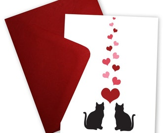 Black Cats in Love - Greeting card personalized with your message