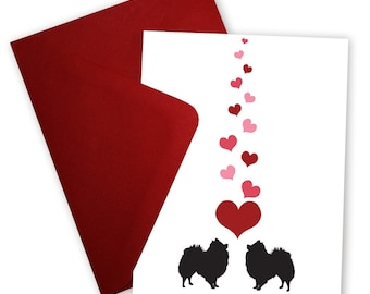 Pomeranians in Love - Valentine card personalized with your message
