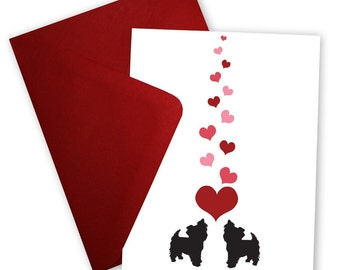 Yorkshire Terriers in Love - Valentine card personalized with your message