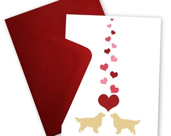 Golden Retrievers in Love - Valentine card personalized with your message