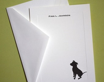 Pit Bull Personalized Stationery - Set of 10 flat paneled cards