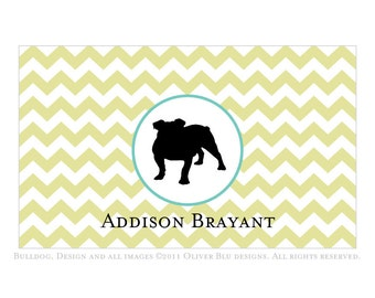 English bulldog personalized stationery - Chevron pattern, six color options