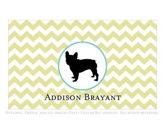 French bulldog personalized stationery - Chevron pattern, six color options