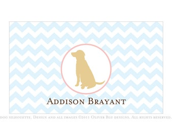 Yellow lab personalized stationery - Chevron pattern, six color options