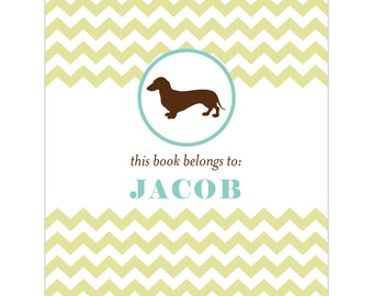 Dachshund bookplates -- Personalized in chevron pattern -- Six color combinations available