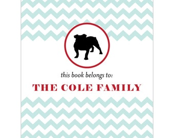 English bulldog bookplates -- Personalized in chevron pattern -- Six color combinations available