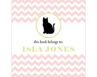 Kitty cat bookplates -- Personalized in chevron pattern -- Six color combinations available