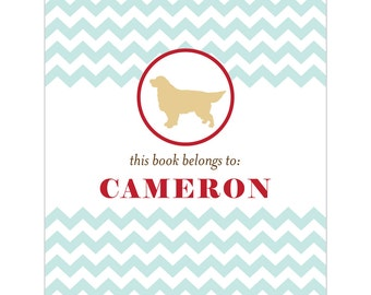 Golden Retriever bookplates -- Personalized in chevron pattern -- Six color combinations available