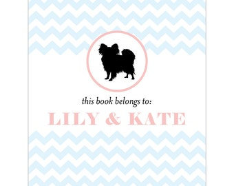 Papillon bookplates -- Personalized in chevron pattern -- Six color combinations available