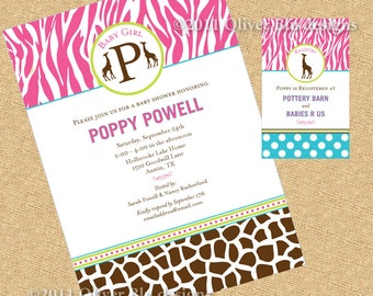 Safari Baby Shower Invitation - Baby Girl - DIY digital file (PRINTABLE)