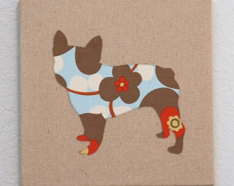 French Bulldog appliqued wall panel - 10 x 10 inches in red, blue and linen floral print on natural linen background