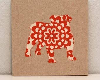English Bulldog appliqued wall panel - 10 x 10 inches in red and cream wallflower print on natural linen background