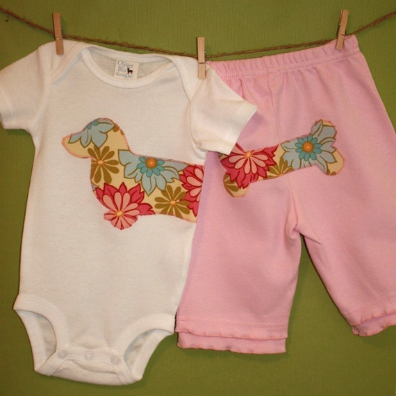 Wiener dog baby one-piece and pant set in pink breeze lei floral print