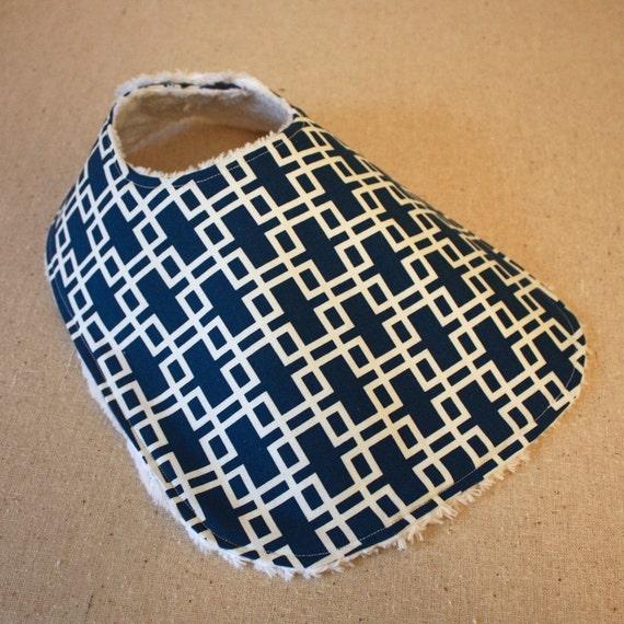 The Dressy Drooler Bib in Navy Geometric Weave print
