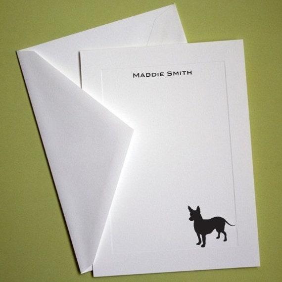 Chihuahua Personalized Stationery - Set of 10 flat paneled cards