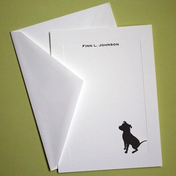 Pit Bull Personalized Stationery - Set of 10 flat paneled cards