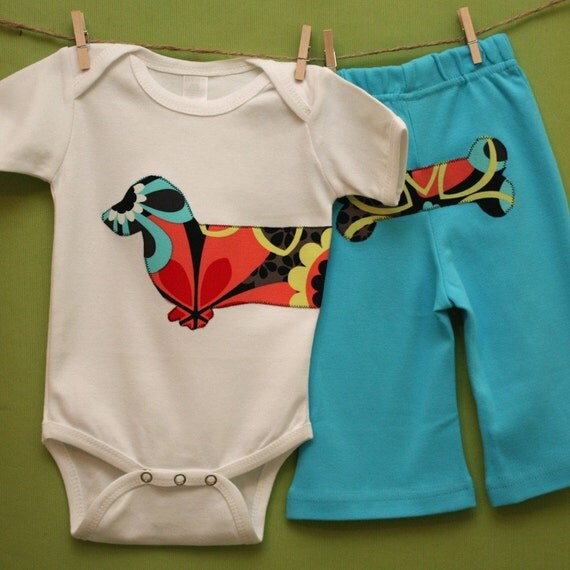 Limited Edition Wiener dog baby set in retro funky flowers with turquoise pants - Size 3-6 months