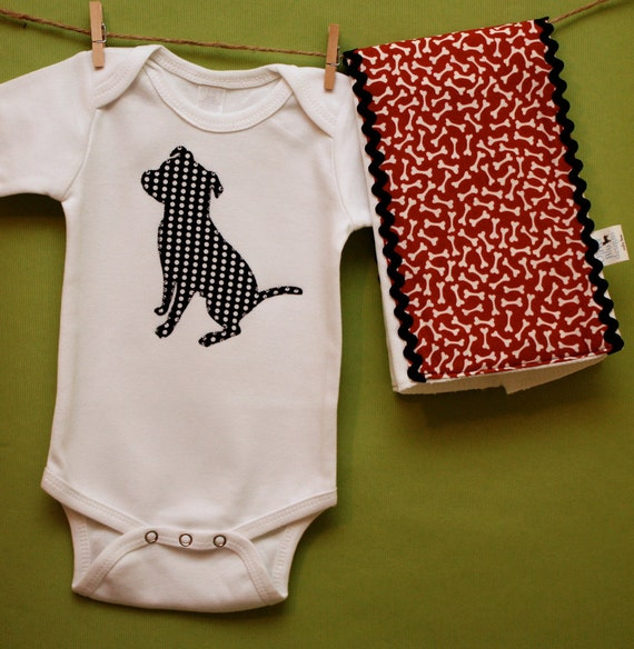 Pit Bull bodysuit and burp cloth gift set in black and white polka dot and red bone prints