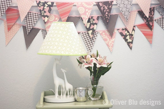 Mini pennant fabric banner - bunting in pale pink and gray prints - room decor or photo prop