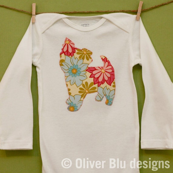SAMPLE SALE - Yorkie one-piece bodysuit in size 24 months, long sleeves