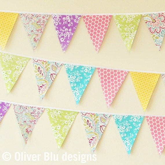 Mini pennant fabric banner - bunting in bright pastels - room decor or photo prop