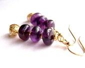 Amethyst Earrings, Gemstone Jewelry, Gold Filigree, Purple, Eggplant, Violet, Plum