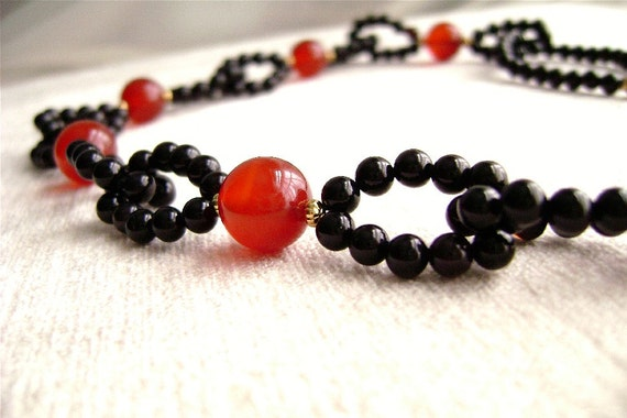 Agate Necklace, Carnelian, Gemstone Jewelry, Black, Red, Gold, Orange, Fiery, Hot Peppers, Lacy