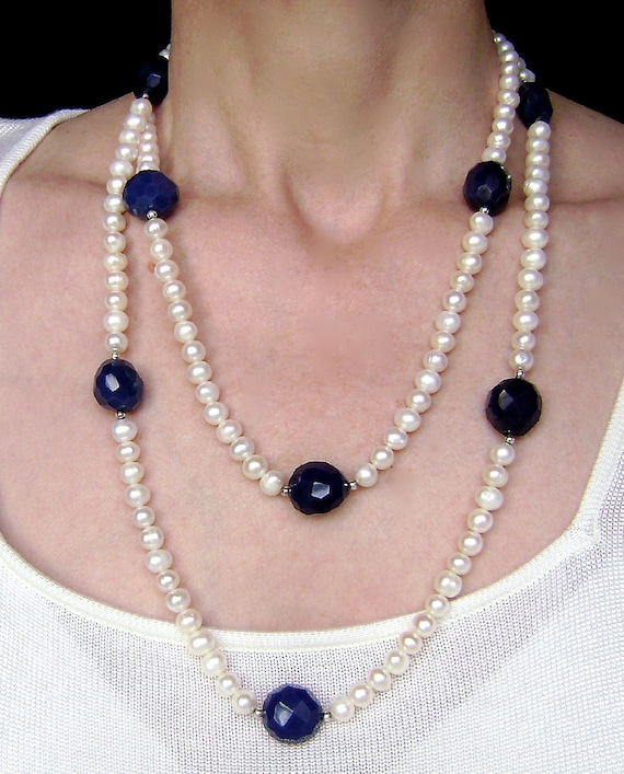 White Pearl Necklace Sapphire Blue Agate Sterling Silver Blueberry Midnight Navy