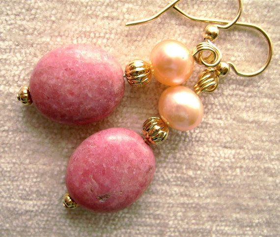 Pink Rhodonite Earrings Rose Pearls Gold Honeysuckle Carnation Salmon Peach Mauve