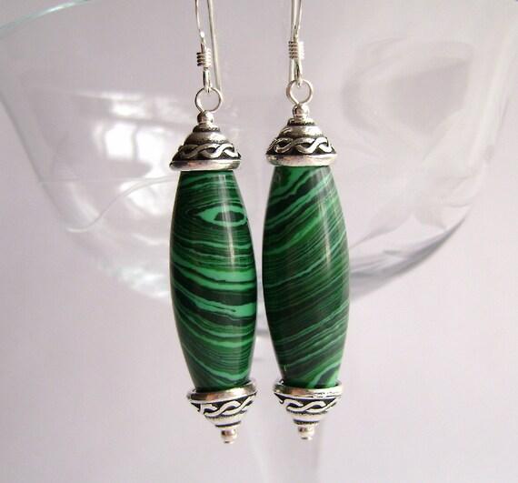 Malachite Earrings, Malachite Jasper, Gemstone Jewelry, Celtic, Irish, Green, Pewter, Sterling Silver, Forest, Pine