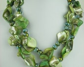Double Strand 18 inch Dyed Green color Mother of Pearl Necklace and earring set