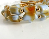 Yellow Flower Bracelet Double Strand Amber Glass Jewelry Gold Clasp
