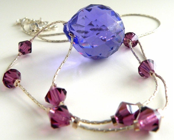 Amethyst Crystal Necklace Sterling Silver Necklace Purple Crystal Jewelry