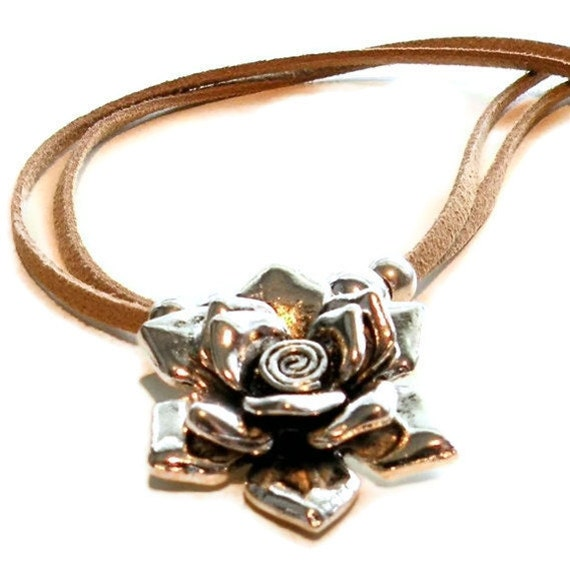Silver Leather Necklace, Pewter Rose Pendant, Tan Suede Handcrafted Jewelry Jewels by Trish