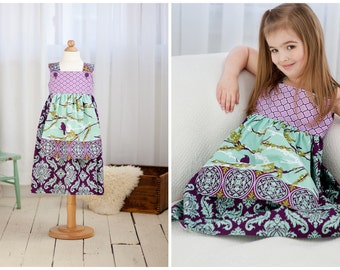 PRINTED PATTERN: Girls Charlotte Apron Dress - Original Printed Sewing Pattern - Size 6 Month through 8 Years