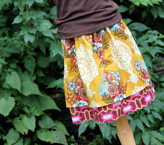 Girls Skirt Double Layer Twirl - Ruby, Size 5T, Ready to ship by The Cottage Mama