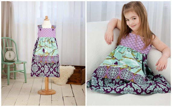 PRINTED PATTERN: Girls Charlotte Apron Dress - Original Printed Sewing Pattern - Size 6 Month through 8 Years