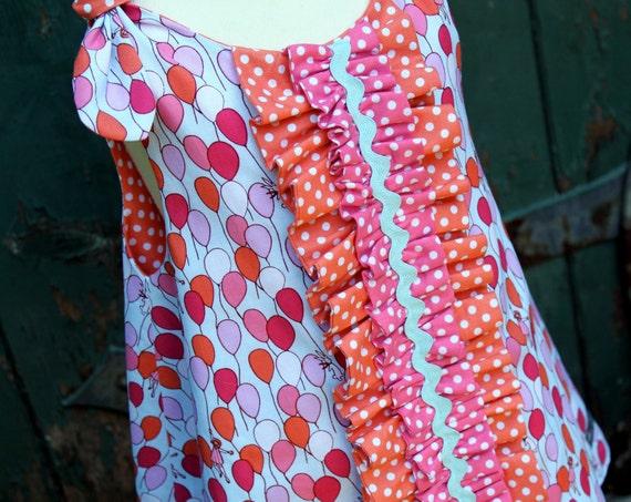 Girls Balloon Ruffle Dress, Custom Size 6M 12M 18M 2T 3T 4T 5 6 by The Cottage Mama