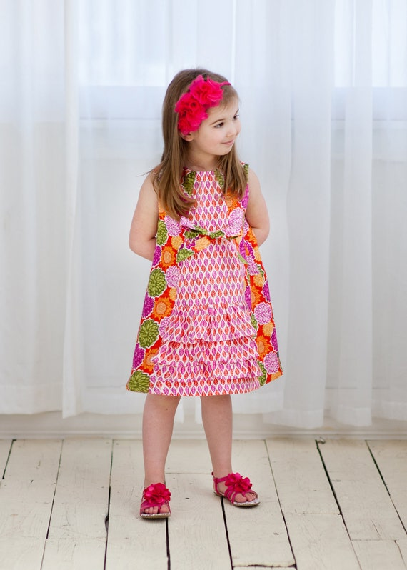Girls Pink and Orange Ruffle Dress, Size 5, by The Cottage Mama