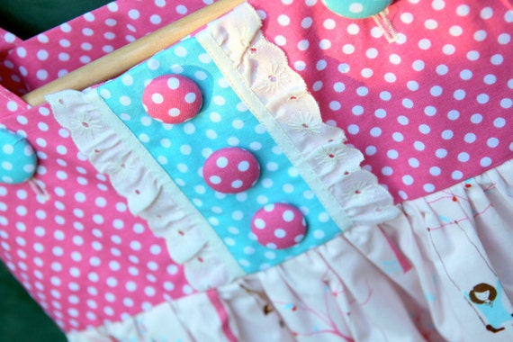 Sample Sale: Girls Polka Dot Swing Dress, Size 5 by The Cottage Mama