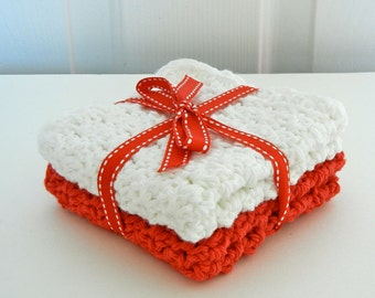 Crochet Cotton Dishcloths Washcloths Red and White Ready to Ship