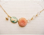 Pastel dahlia and turquoise silhouette cameo gold necklace